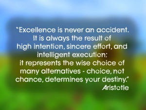 Excellence is never an accident. It is always the result of high intention, sincere effort, and intelligent execution